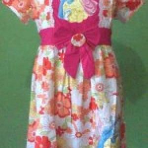 Dress Anak Branded Disney Bunga Besar Pita Orange