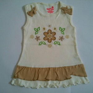 Dress Anak Healtex Bordir Bunga Krem