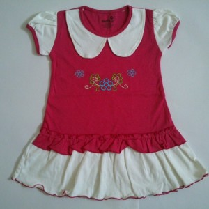 Dress Anak Healtex Bordir Bunga Merah