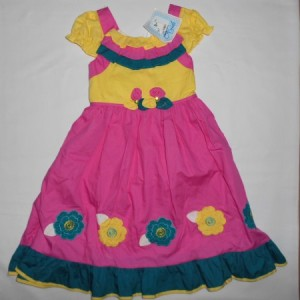 Dress Anak Aliza Bunga Pink Kuning