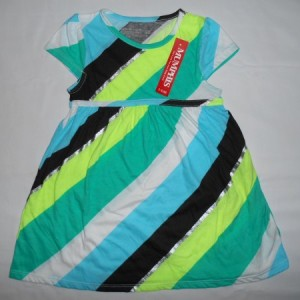 Dress Anak Mumphis Belang Samping Hijau 2