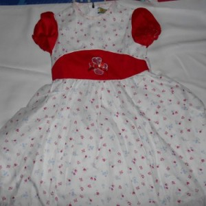 Dress Anak Olen Bunga Garis Merah