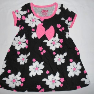Dress Anak Circo Bunga Hitam Pink